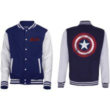Men's Avengers Assemble Distressed Shield Varsity Jacket Navy