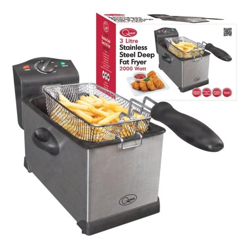 Stainless Steel Deep Fat Fryer 3 Litre Quest Professional Chip Kitchen Large 3L