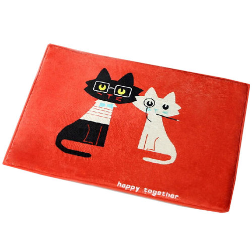 Cartoon Area Rug Water Absorbent Non-slip Doormat(Mr Black&Mrs White Cats)