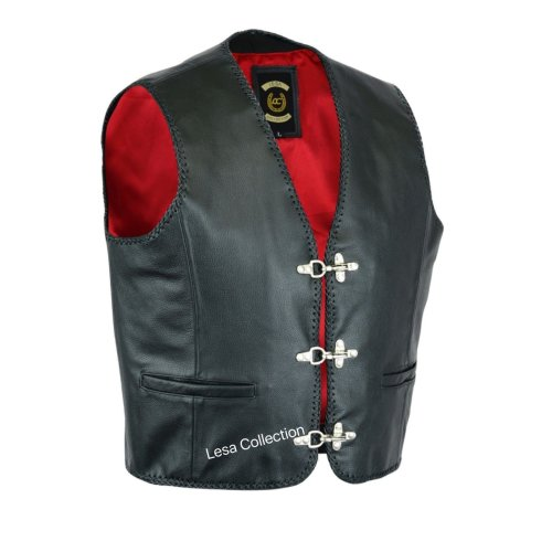 Mens leather buckle braided waistcoat with buckles