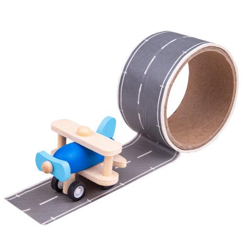 Bigjigs Toys Runway Track Sticker Tape - Removable Track Aeroplane Vehicle