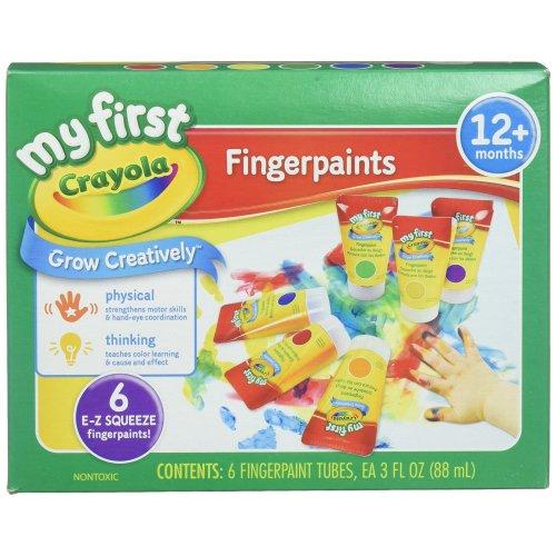 Crayola 81-1429 Finger Paint Washable, 6 Squeeze Tubes