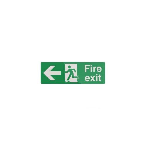 Fire Exit Arrow Sign - 400 x 150mm Rigid Left