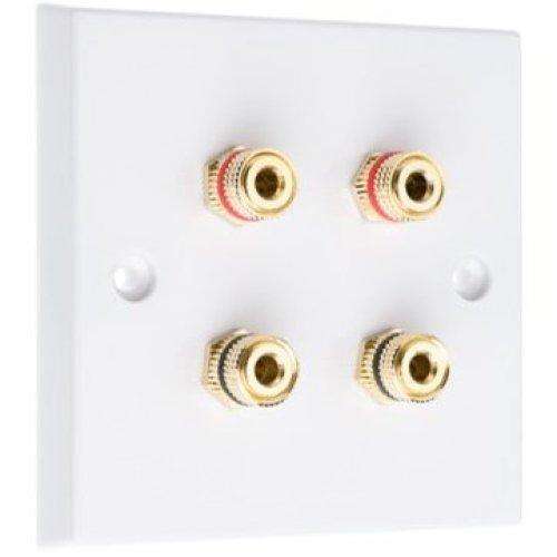White 4 Binding Post Speaker Wall Plate - 4 Terminals - NON SOLDER