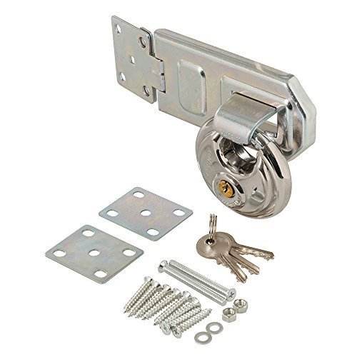 Silverline Disc Padlock & Steel Hasp Set 2pce 70mm - 492211 Stainless -  padlock hasp steel disc set silverline 492211 70mm 2pce stainless