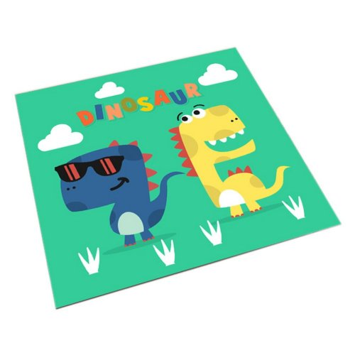 Square Cute Cartoon Children's Rugs, Green And Cartoon Dinosaurs