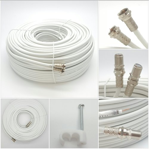 Sky Satellites 1 m Twin Satellite Shotgun Coax Cable Extension Kit with Fitted F Connectors for Sky HD and Freesat - White (1 Meter, White)