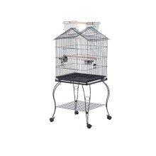Pawhut Large Metal Bird Cage Aviary Budgies Finch Cockatiel Birds Stand Feeding Station W/ Wheels 51l X 51w X 135h Cm