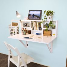 SoBuy® FWT07-W, Folding Wall-mounted Drop-leaf Table Desk with Storage Shelves