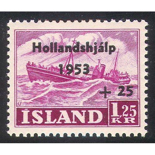 Iceland 1953 Trawler/ Fishing/ Boats/ Transport/ Nautical/ Ships/ Welfare/ Netherlands Flood Relief Fund 1v n41663