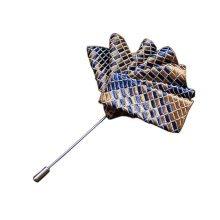 High-end Ribbon Lapel Stick Boutonniere Pins Suit Lapel Pins for Wedding, #04