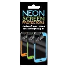 Neon Samsung Galaxy S4 Screen Protectors - 3x For Orange Pink Green - 3x Neon Screen Protectors For Samsung Galaxy S4 Orange Pink Green