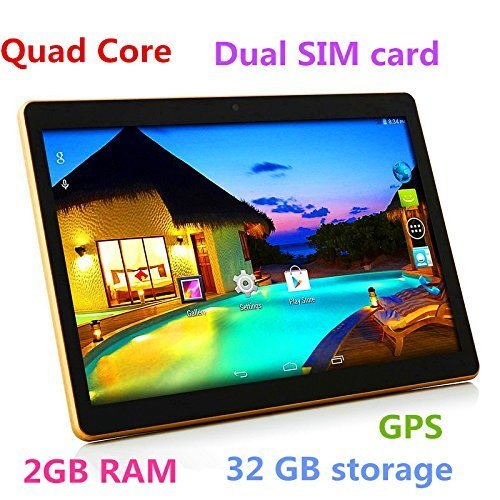 10 Inch 3G Phablet Quad Core 32GB ROM 2GB RAM Call Phone Android 6.0 -Black