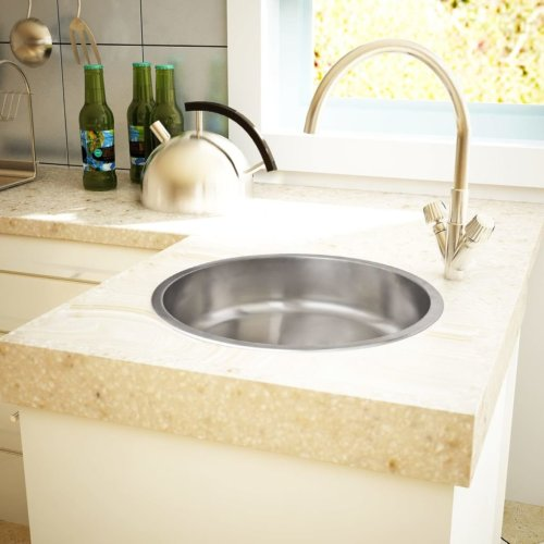 Round Sink Stainless Steel 43cm With Drain