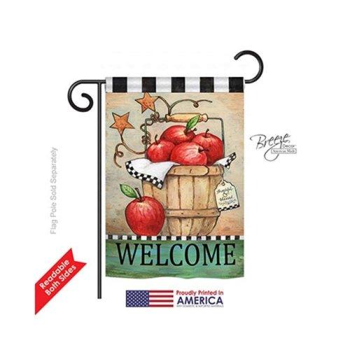 Breeze Decor 67039 Apple Basket 2-Sided Impression Garden Flag - 13 x 18.5 in.