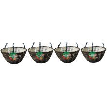 "4 X Kingfisher 12In (30Cm) Dark Rattan Hanging Basket Black 16"" Chain"