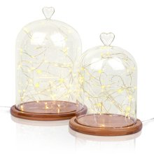 Glass Cloche | Glass Heart Topped | Bell Jar Display Dome | Bamboo Base | 2 Sizes | String LED Warm White Light Lamp
