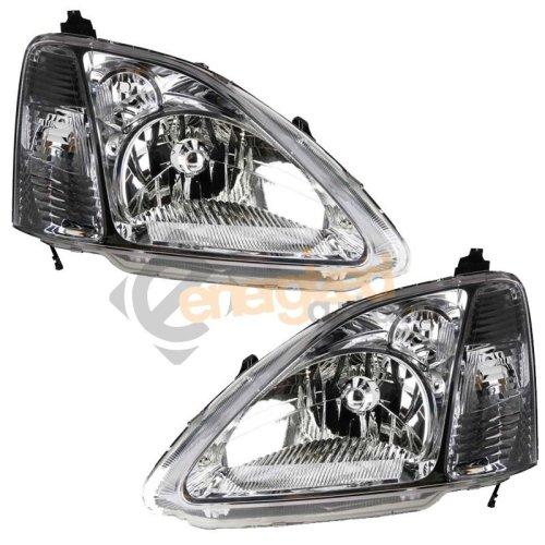 Honda Civic 2002-2004 Headlights Headlamps 1 Pair O/s & N/s