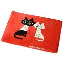 Cartoon Area Rug Water Absorbent Non-slip Doormat(Mr Black&Mrs White Cats)