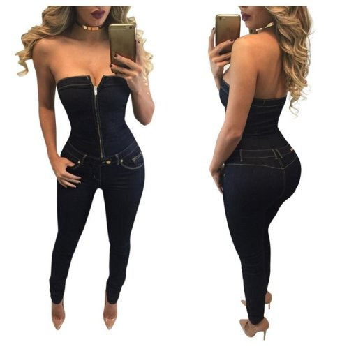 Strapless Zipper Jumpsuit Women Sexy Backless Sleeveless Playsuit Sexy Party Rompers Shorts Overalls Bandage Denim Jumpsuits2016