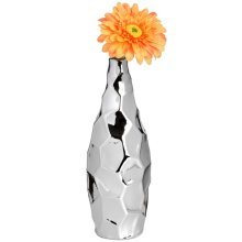 Textured Silver Ceramic Short Vase -  textured silver ceramic short vase