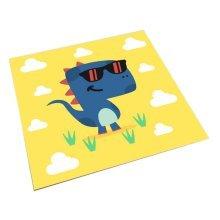 Square Cute Cartoon Children's Rugs, Yellow And Cool Cartoon Dinosaurs