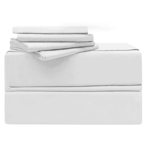 Simply the Best YMS008190 Luxury 620 Thread Count 100 Percent Cotton Sheet Set, White - Queen - 6 Piece