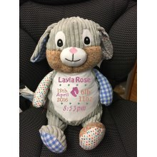 Harlequin Blue Bunny - Personalised With Name, Message or Birth Date