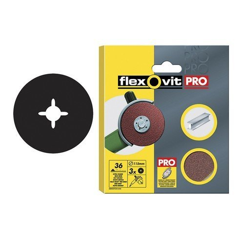 Flexovit 63642527531 Aluminium Oxide Fibre Discs 115mm Extra Coarse 36g Pack of 3