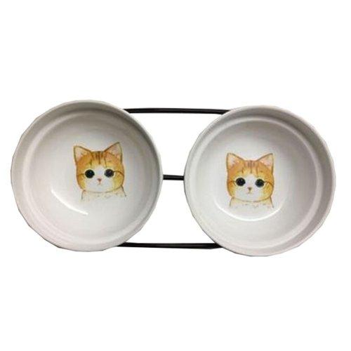 Little Double Bowls Set Ceramic Feeding Pot/Pet Bowls/Dog Bowls/Cat Bowls For Food & Water S Size(C#02)