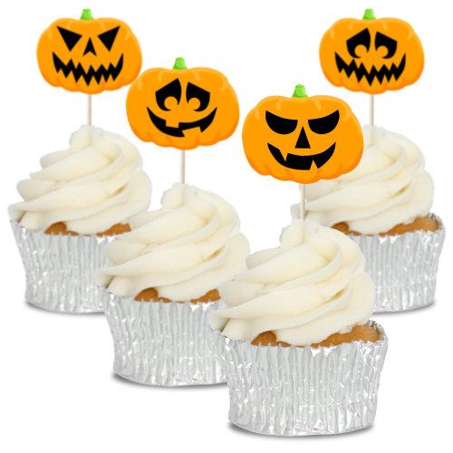 Pumpkin Jack -o'- Lantern Halloween Cupcake Toppers Picks Pics 12pk