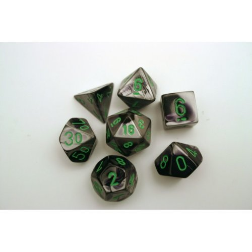 Chessex Gemini Polydice Set - Black-Grey w/green