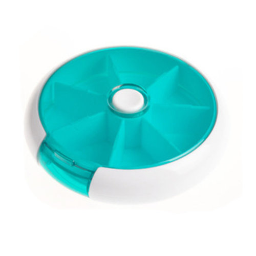 Circular 7 Day Pill Reminder Medicine Storage Container Pill Case, Cyan