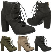 Florence Womens High Block Heel Lace Up Closed Toe Ankle Boots