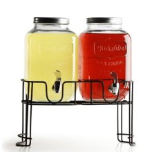 Circleware Yorkshire Dual 3.78l Beverage Dispensers With Metal Rack - Glass -  glass yorkshire drink dispensers metal circleware dual 378l rack party