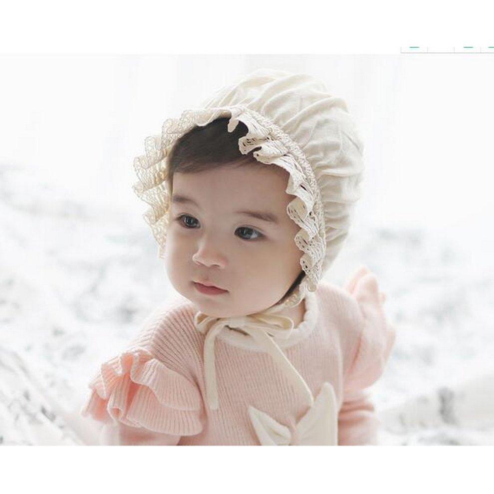 3a6b0b03c Baby Toddler Sun Hat Bonnet Baby Pilot Cap Beanie Infant 0-6 Months, Lace  Edge A