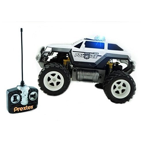 Prextex Remote Control Monster Police Truck Radio Control Police Car toys for boys Rc Car with Lights for 8-12 year old boys