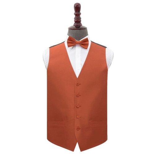 Rust Shantung Wedding Waistcoat & Bow Tie Set 40'