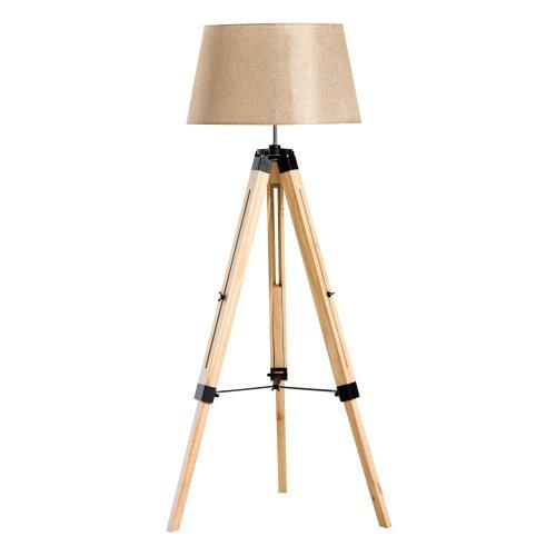 (Cream Shade) Homcom Wooden Adjustable Tripod Floor Lamp