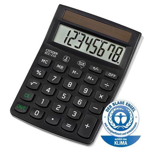 CITIZEN ECC-210 Eco Complete 8 Digit Calculator Fixed Angled Display Desktop