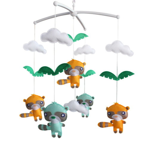[Cute Raccoon, Colorful] Baby Crib Toy With Arm and Musical Mobile