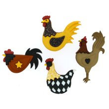 Hen House - Novelty Craft Buttons / Embellishments by Dress It Up