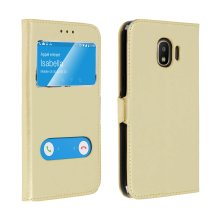 Double window standing case for Galaxy Grand Prime Pro with TPU shell - Gold