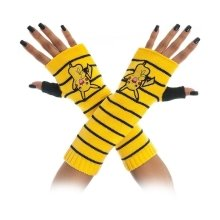 Pokemon Unisex Pikachu Striped Fingerless Gloves One Size - Yellow/Black