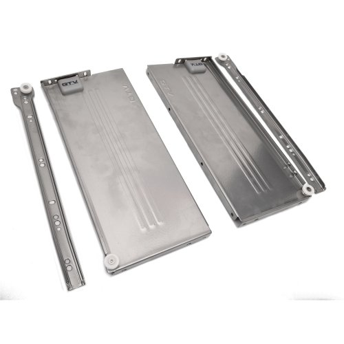 "Metabox Metal Drawers Sides/Runners Rollers Set Silver H-54mm 2.1"" L-500mm 19.7"""