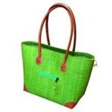 Madagascar Small Vero Raffia Lime Green Handbag