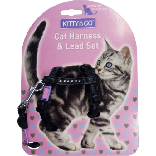 Hem & Boo Nylon Adjustable Cat Harness & Lead Set Diamante Assorted