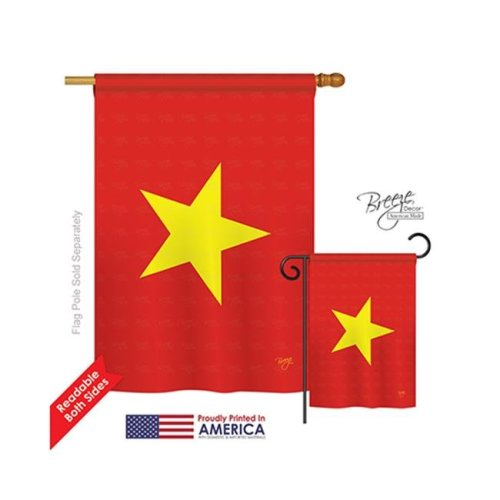 Breeze Decor 08325 Vietnam 2-Sided Vertical Impression House Flag - 28 x 40 in.