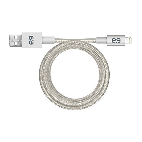PureGear Braided Metallic Charge Sync Cable for Apple Lightning devices Silver 9