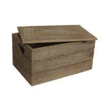 Small Oak Effect Heart Cut Handle Wooden Lidded Storage Box